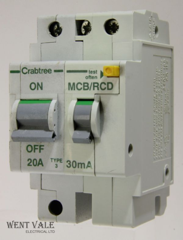 Crabtree Polestar - 6023/203 - 20a 30mA Type 3 Double Pole RCBO Used